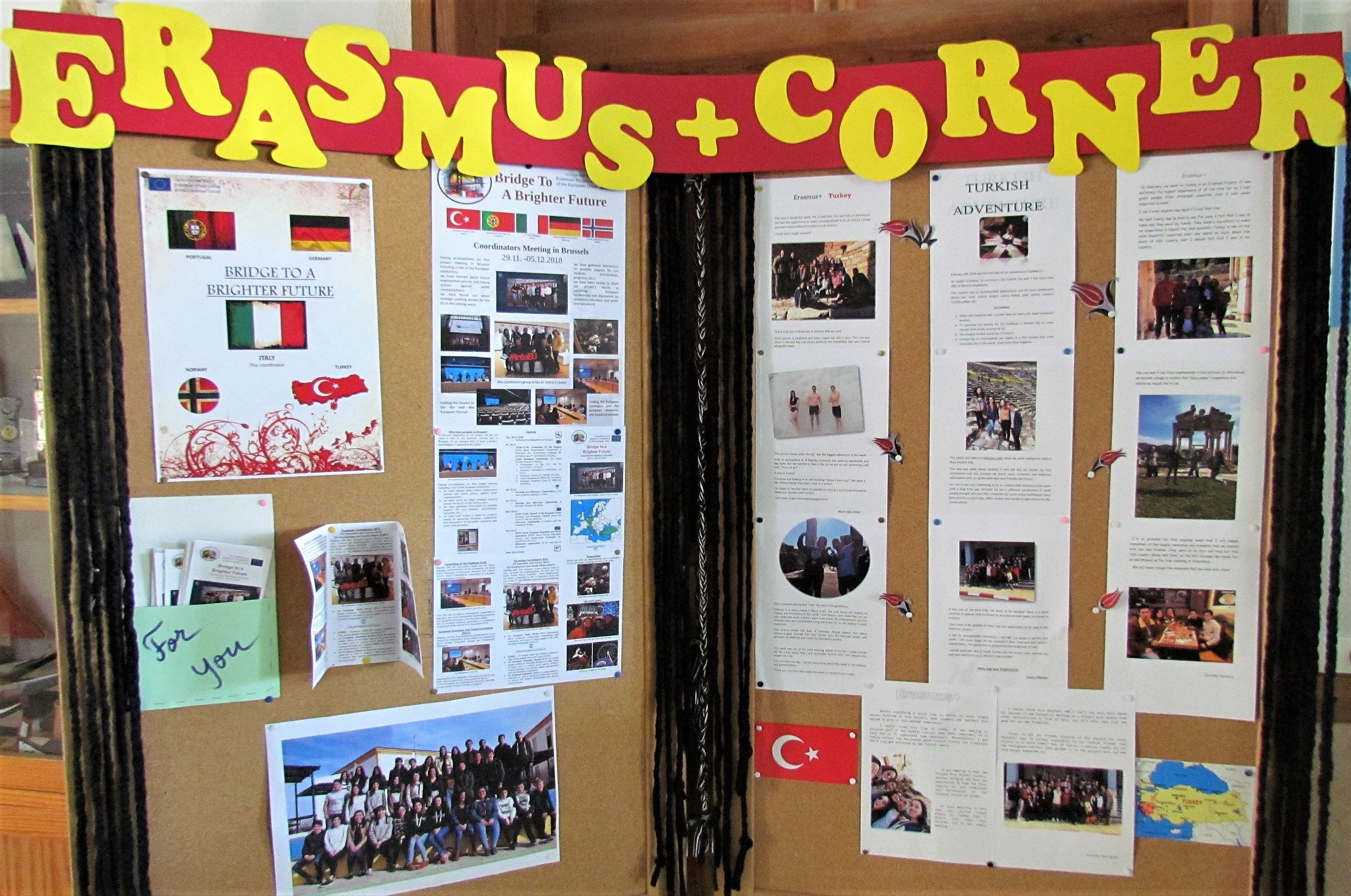 The Erasmus corner in the school